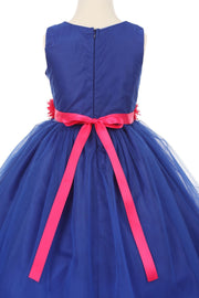 Girls Pleated Royal Blue Tea Length Tulle Dress with Flower Sash-Girls Formal Dresses-ABC Fashion