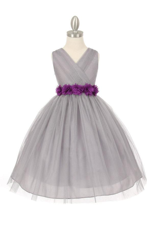 Girls Pleated Silver Tea Length Tulle Dress with Flower Sash-Girls Formal Dresses-ABC Fashion