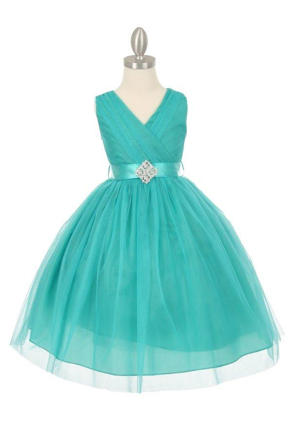 Girls Pleated Tea Length Tulle Dress with Rhinestone Brooch Sash-Girls Formal Dresses-ABC Fashion