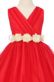 Girls Pleated White Tea Length Tulle Dress with Flower Sash-Girls Formal Dresses-ABC Fashion