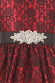Girls Raschel Lace Tea Length Dress with Beaded Brooch Sash-Girls Formal Dresses-ABC Fashion