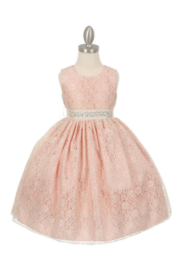 Girls Raschel Lace Tea Length Dress with Beaded Sash-Girls Formal Dresses-ABC Fashion