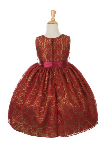 Girls Red Raschel Lace Tea Length Dress with Flower Sash-Girls Formal Dresses-ABC Fashion