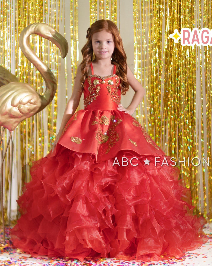 Girls Red Ruffled Charro Ball Gown by Ragazza Kids N06-706