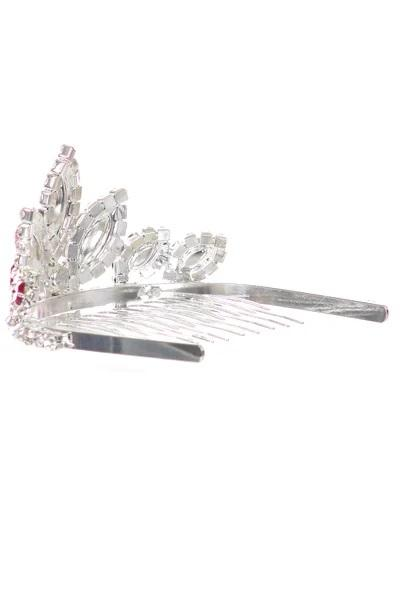 Girls Red Stone Mini Silver Tiara with Comb