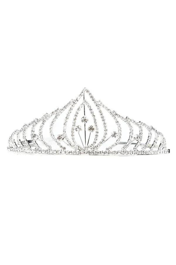 Girls Rhinestone Silver Tiara with Comb