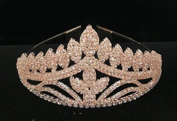Rhinestone Studded Rose Gold Tiara with Comb