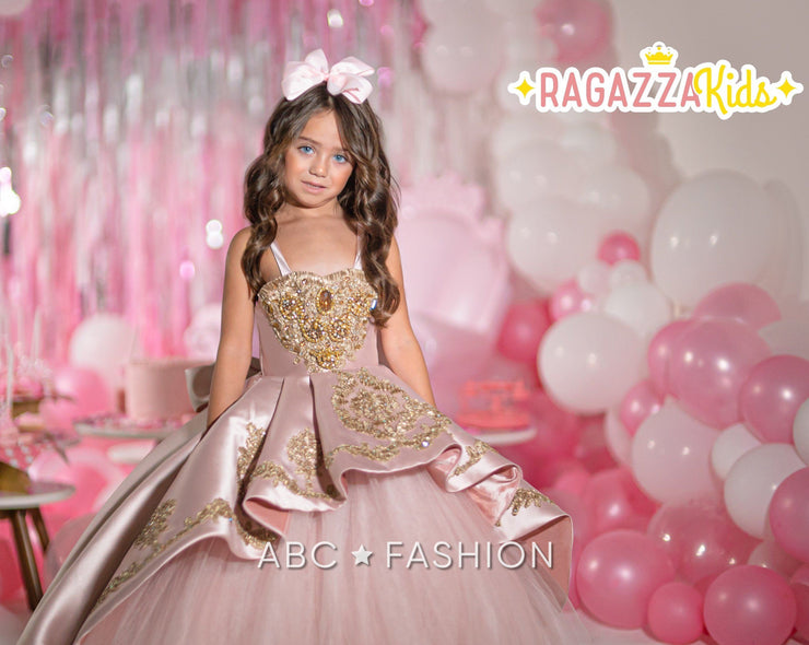 Girls Rose Gold Mikado Ball Gown by Ragazza Kids N01-701