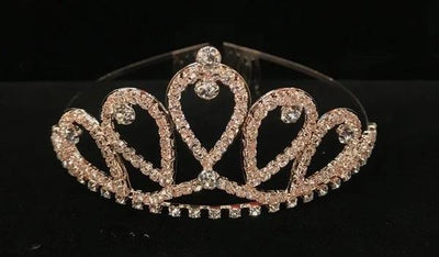 Girls Rose Gold Teardrop Tiara with Comb
