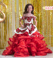 Girls Ruffled Floral Charro Ball Gown by Ragazza Kids N14-714