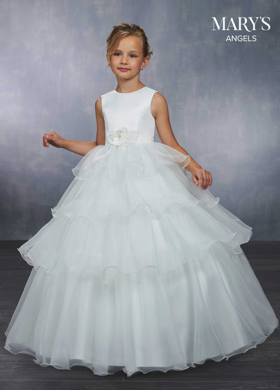 Girls Ruffled Long Satin Dress by Mary's Bridal MB9041