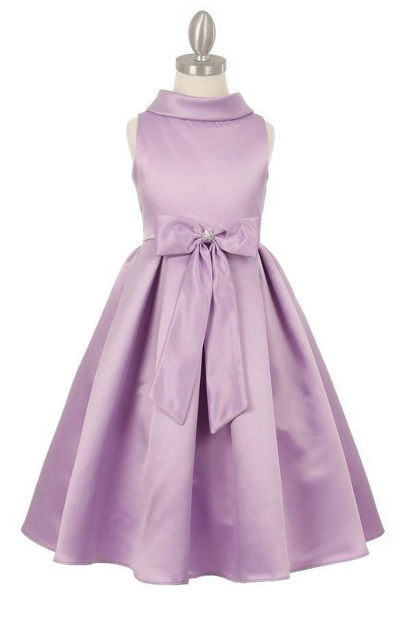 Girls Satin Tea Length Dress with Sash by Cinderella Couture 1197-Girls Formal Dresses-ABC Fashion