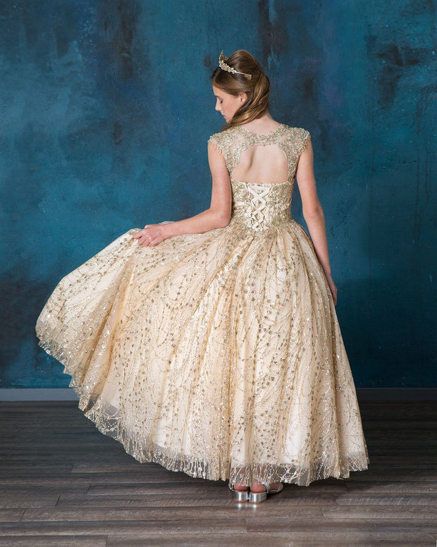 Girls Glitter Cap Sleeve Ball Gown by Calla KY226