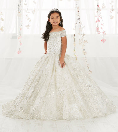 Girls Sequin Long Off the Shoulder Dress by Tiffany Princess 13550-Girls Formal Dresses-ABC Fashion
