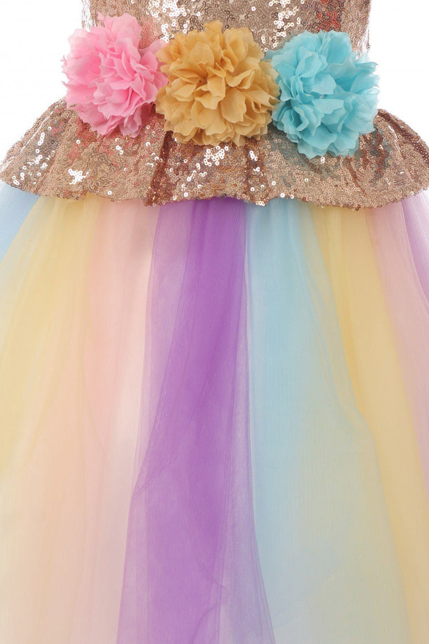 Girls Sequin Multi-Color Tulle Dress with Unicorn Headband-Girls Formal Dresses-ABC Fashion