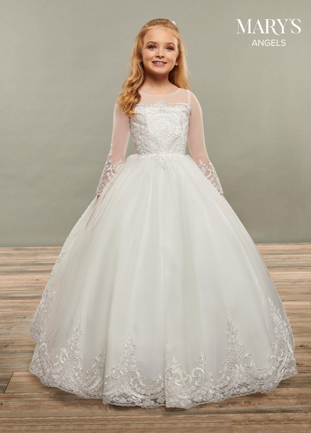 Girls Sheer Sleeve Long Lace Applique Dress by Mary's Bridal MB9066