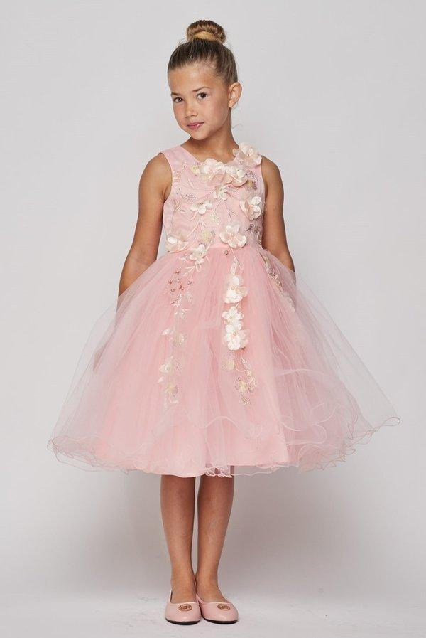 Girls Short A-line Dress with 3D Flowers by Cinderella Couture 9082-Girls Formal Dresses-ABC Fashion