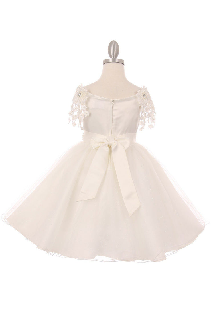 Girls Short A-line Dress with Lace Sleeves by Cinderella Couture 9021-Girls Formal Dresses-ABC Fashion