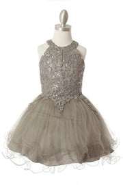 Girls Short Applique Halter Dress by Cinderella Couture 5100