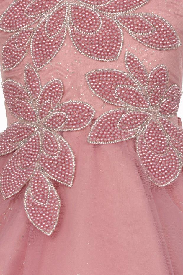 Girls Short Beaded Flower Patch Dress by Cinderella Couture 9113