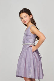 Girls Short Beaded Metallic Dress by Cinderella Couture 8014