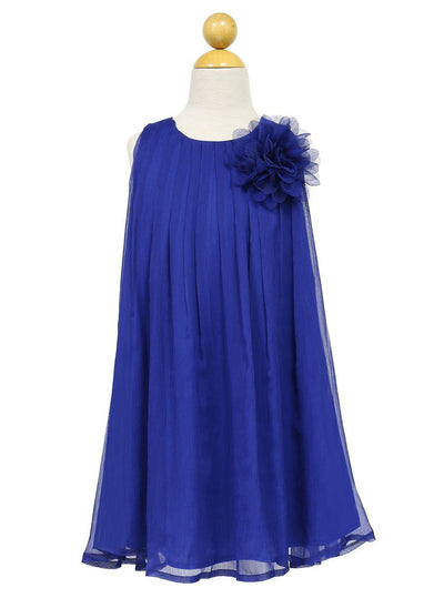 Girls Short Blue Chiffon Dress with Removable Flower by Calla CJ104-Girls Formal Dresses-ABC Fashion