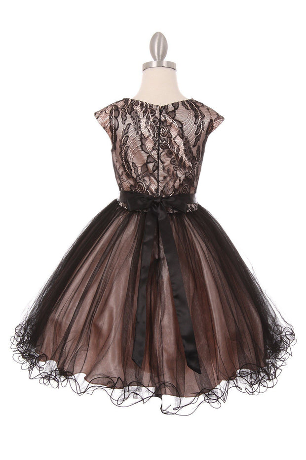 Girls Short Cap Sleeve Dress with Lace Bodice by Cinderella Couture 5045-Girls Formal Dresses-ABC Fashion