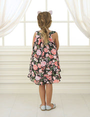 Girls Short Chiffon Floral Print Dress by Calla C621-Girls Formal Dresses-ABC Fashion