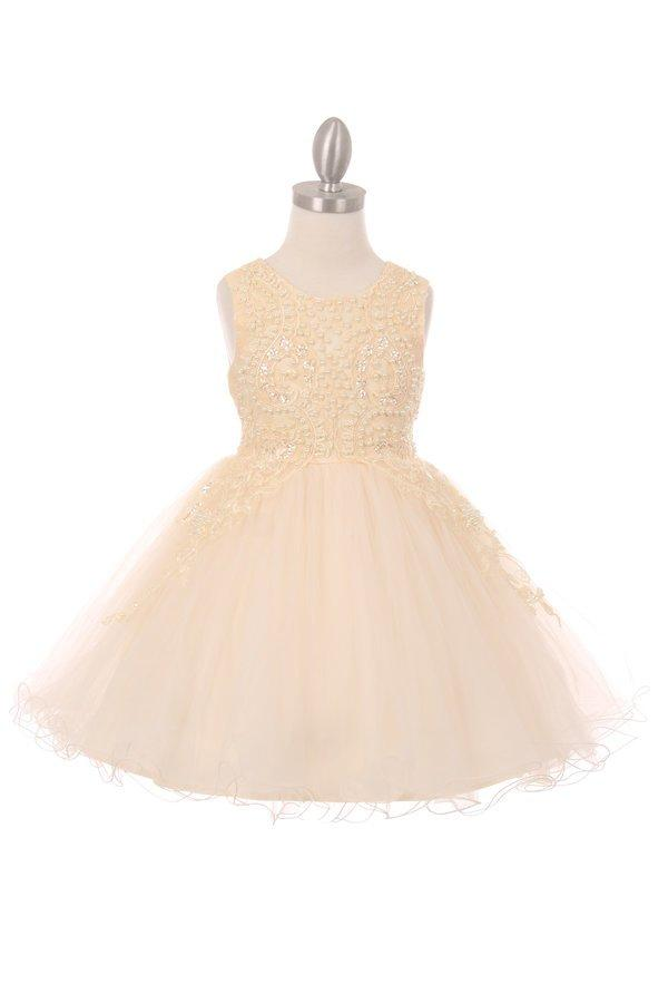 Girls Short Dress with Pearl Beaded Bodice by Cinderella Couture 9023-Girls Formal Dresses-ABC Fashion