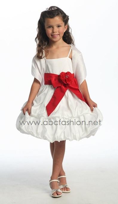 Girls Short Dresses with Sash and Bubble Skirt-Girls Formal Dresses-ABC Fashion