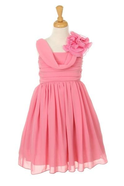 Girls Short Dusty Rose Dresses with Ruffle Flowers-Girls Formal Dresses-ABC Fashion
