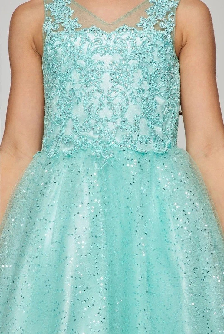 Girls Short Embroidered V-Neck Dress by Cinderella Couture 5088