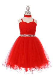Girls Short Front Twist Tulle Dress by Cinderella Couture 5019-Girls Formal Dresses-ABC Fashion