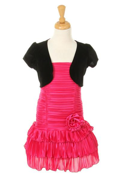 Girls Short Fuchsia Dresses with Black Bolero-Girls Formal Dresses-ABC Fashion