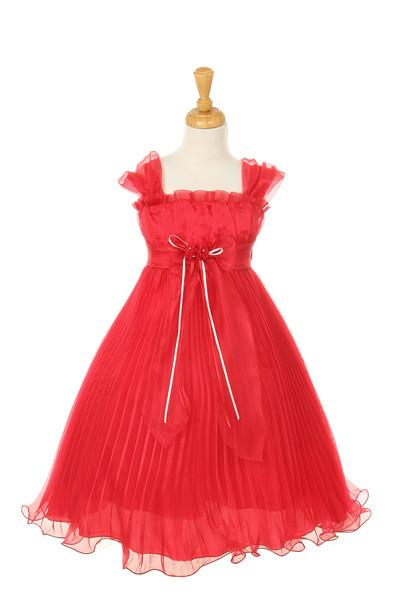 Girls Short Fuchsia Dresses with Flower Corsage - 7 Colors-Girls Formal Dresses-ABC Fashion
