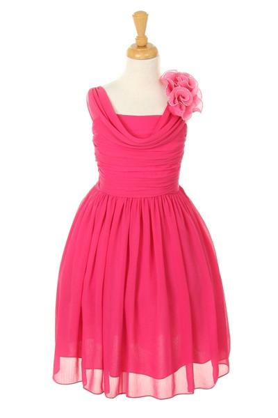 Girls Short Fuchsia Dresses with Ruffle Flowers-Girls Formal Dresses-ABC Fashion
