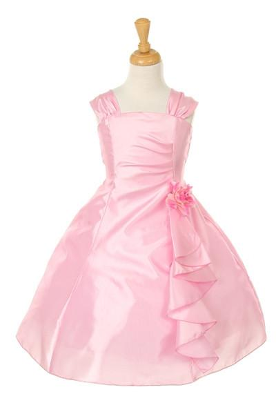 Girls Short Fuchsia Dresses with Ruffled Skirt-Girls Formal Dresses-ABC Fashion