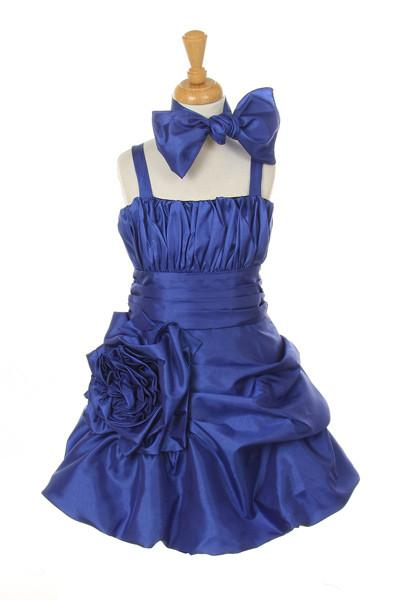 Girls Short Fuchsia Pickup Dresses with Scarf-Girls Formal Dresses-ABC Fashion