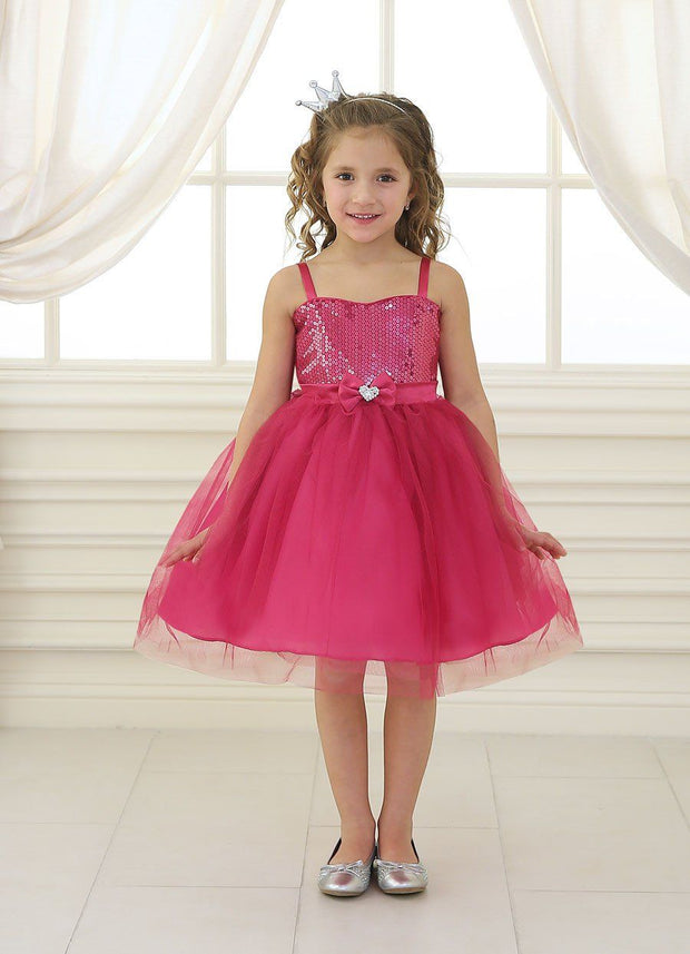 Girls Short Fuchsia Tulle Dress with Sequined Top by Calla 750-Girls Formal Dresses-ABC Fashion