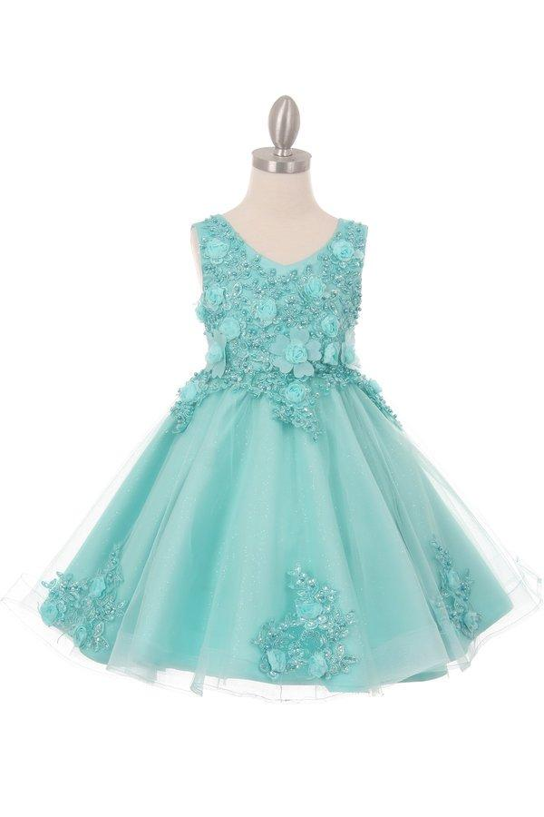 Girls Short Glitter Dress with 3D Flowers by Cinderella Couture 9020-Girls Formal Dresses-ABC Fashion