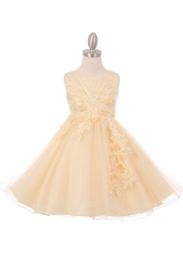 Girls Short Glitter Dress with 3D Flowers by Cinderella Couture 9022-Girls Formal Dresses-ABC Fashion
