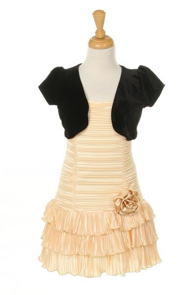 Girls Short Gold Dresses with Black Bolero-Girls Formal Dresses-ABC Fashion
