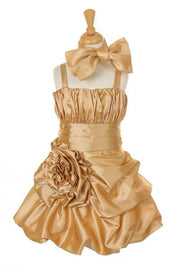Girls Short Gold Pickup Dresses with Scarf-Girls Formal Dresses-ABC Fashion