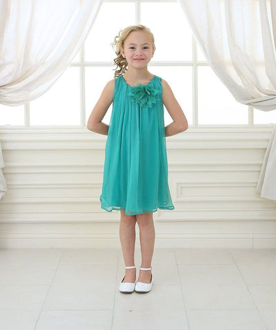 Girls Short Green Chiffon Dress with Removable Flower by Calla CJ104-Girls Formal Dresses-ABC Fashion