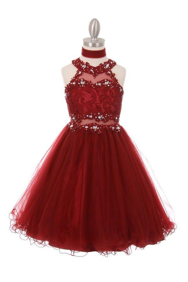 Girls Short Halter Dress with Lace Bodice by Cinderella Couture 5040-Girls Formal Dresses-ABC Fashion