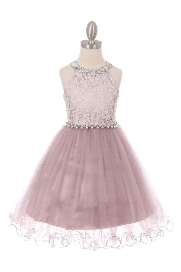 Girls Short Halter Dress with Lace Bodice by Cinderella Couture 5052-Girls Formal Dresses-ABC Fashion