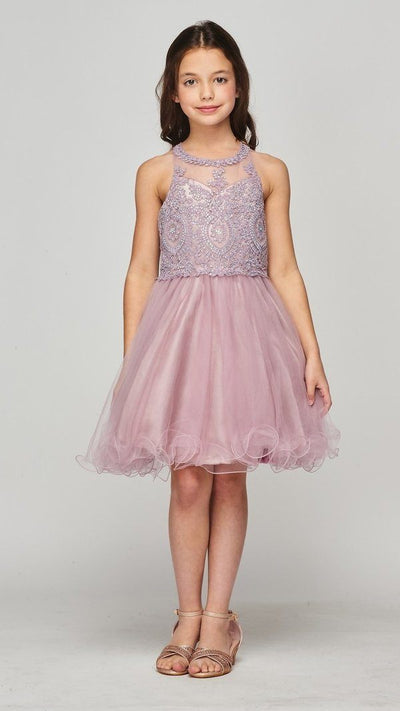 Girls Short Illusion Applique Dress by Cinderella Couture 5065