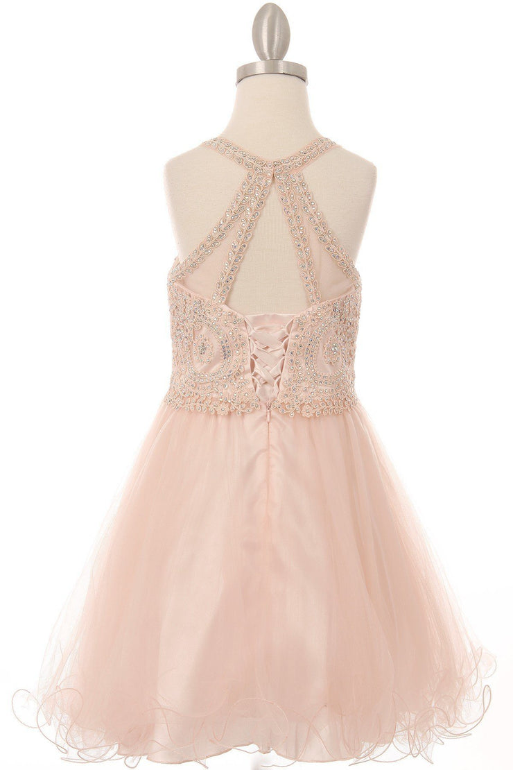 Girls Short Illusion Beaded Lace Dress by Cinderella Couture 5065-Girls Formal Dresses-ABC Fashion