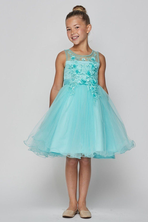 Girls Short Illusion Dress with 3D Flowers by Cinderella Couture 9083-Girls Formal Dresses-ABC Fashion