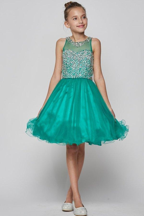 Girls Short Illusion Dress with Beaded Top by Cinderella Couture 8501-Girls Formal Dresses-ABC Fashion